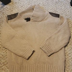 "Sweater with ""leather"" shoulder detail"